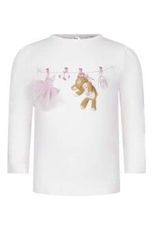 Baby Girls Ivory Teddy Cotton Long Sleeve T-Shirt