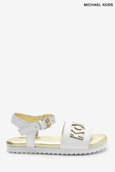 Michael Kors White With Gold Logo Sandals