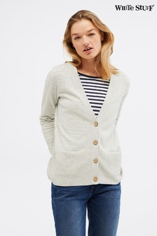 White Stuff Grey Lazy Days V-Neck Cardigan