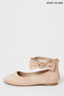 River Island Pink Light Bow Pearl Ballerinas