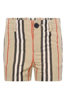 Baby Boys Beige Icon Stripe Cotton Shorts
