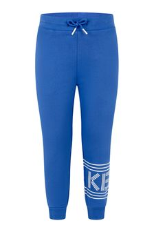 Boys Royal Blue Cotton Logo Joggers