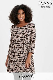 Evans Curve Neutral Abstract Animal Print Tunic