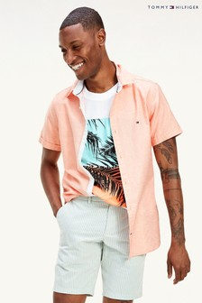 Tommy Hilfiger Orange Short Sleeve Twill Shirt
