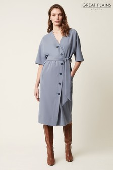 Great Plains Grey Marina Textured Wrap Dress