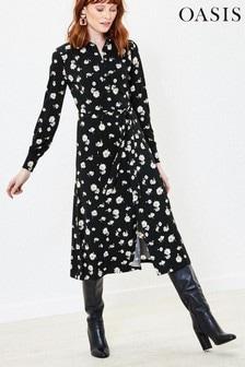 Oasis Black Floral Midi Shirt Dress