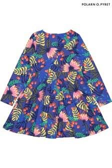 Polarn O. Pyret Blue Organic Cotton Bold Tropical Print Dress