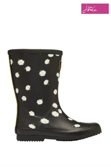 Joules Black Junior Roll Up Wellies