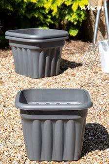 Set of 3 Wham Vista 40cm Black Plastic Square Planters