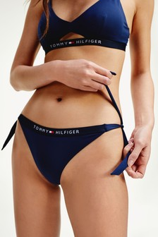 Tommy Hilfiger Blue Core Solid Side Tie Bikini Bottoms