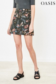 Oasis Green Tropical Print Mini Skirt