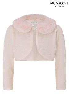 Monsoon Pink Baby Faux Fur Collar Supersoft Cardigan