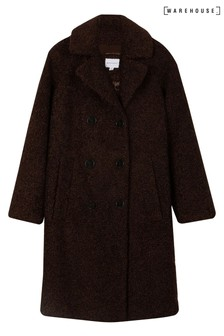 Warehouse Brown Faux Fur Double Teddy Coat
