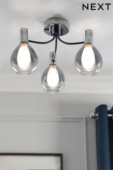 Chrome Carson 3 Light Flush Ceiling Light