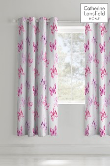 Butterfly Lined Eyelet Curtains by Catherine Lansfield