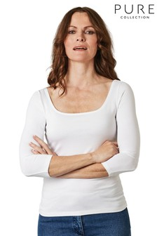 Pure Collection White Soft Jersey Square Neck Top