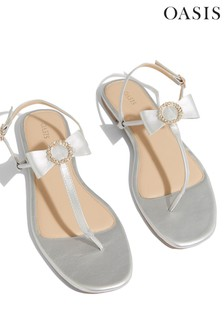 Oasis Silver Bow Toe Post Sandals