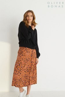 Oliver Bonas Brown Leopard Print Tan Midi Skirt