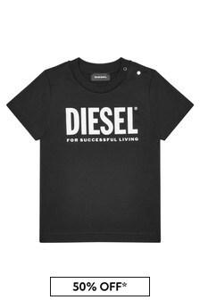 Diesel Baby Boys Black Cotton T-Shirt
