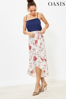Oasis Natural Floral Wrap Frill Skirt