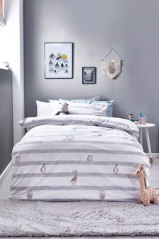 Grey Baby Animals Stripe Duvet Cover and Pillowcase Set