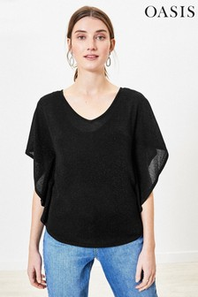 Oasis Black Sparkle Batwing Knit Jumper