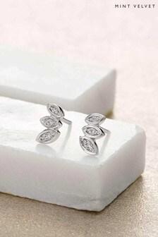 Mint Velvet Silver Tone Sparkle Petal Earrings