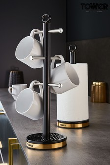 Tower Empire 6 Cup Mug Tree And Kitchen Roll Holder Set