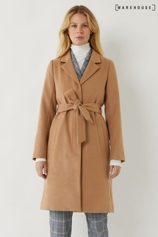 Warehouse Tan Clean Belted Wrap Coat