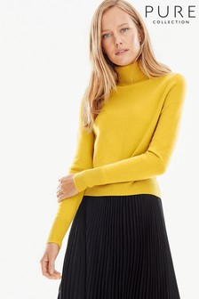 Pure Collection Yellow Cashmere Cropped Polo Sweater