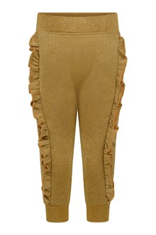Baby Girls Gold Glitter Frilly Joggers