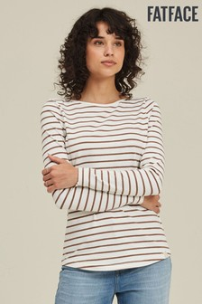 FatFace Brown Organic Cotton Breton T-Shirt