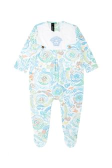 Baby Girls White Cotton Babygrow