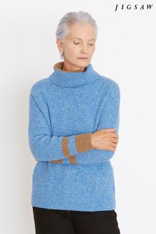 Jigsaw Blue Donegal Slouchy Polo Jumper