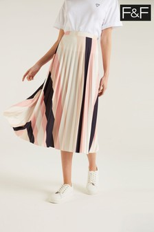 F&F Navy/Blush Stripe Pleat Skirt