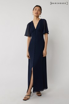 Warehouse Blue Angel Sleeve Bridesmaid Dress