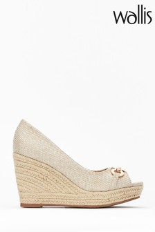 Wallis Natural Circle Trim Peep Toe Wedges