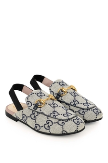 GUCCI Kids Navy Princetown GG Canvas Slippers