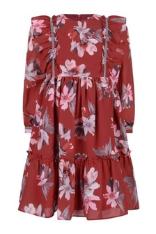 Girls Red Flower Print Long Sleeve Dress