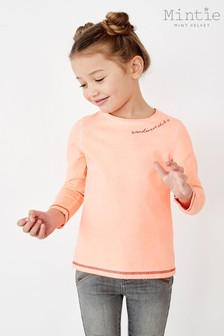 Mintie by Mint Velvet Neon Orange Embroidery T-Shirt