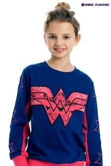 Fabric Flavours Blue Wonder Woman Logo Sweatshirt