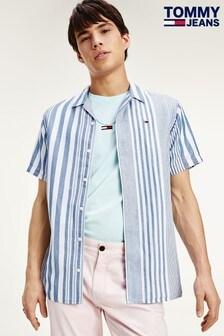 Tommy Jeans Blue Stripe Camp Shirt