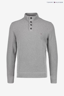 Tommy Hilfiger Grey Structured Button Mock Sweater