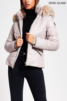 River Island Pink Light Flavia Fitted Padded Coat