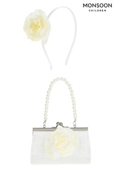 Monsoon Yellow Macaroon Flower Mini Bag & Hair Band Set