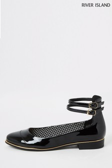 River Island Black Ankle Strap Ballet Shoes
