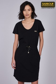 Barbour® International Black Interceptor Tie Waist Dress