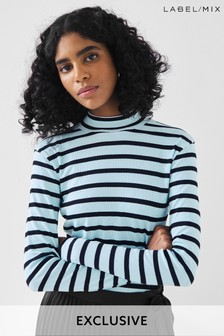 Next/Mix Stripe Roll Neck T-Shirt