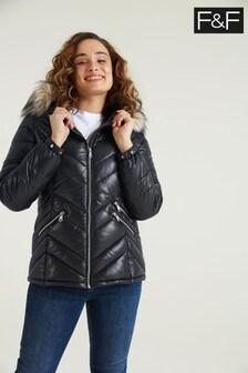 F&F Wetlook Padded Black Coat