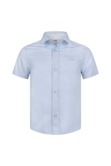 Boys Blue Cotton Short Sleeve Shirt